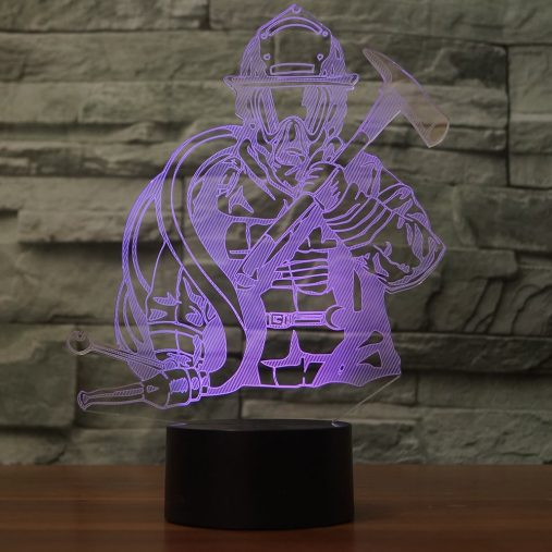 Firefighter 3D Illusion Led Lamp