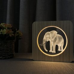 Elephant Wooden 3D Lamp 3