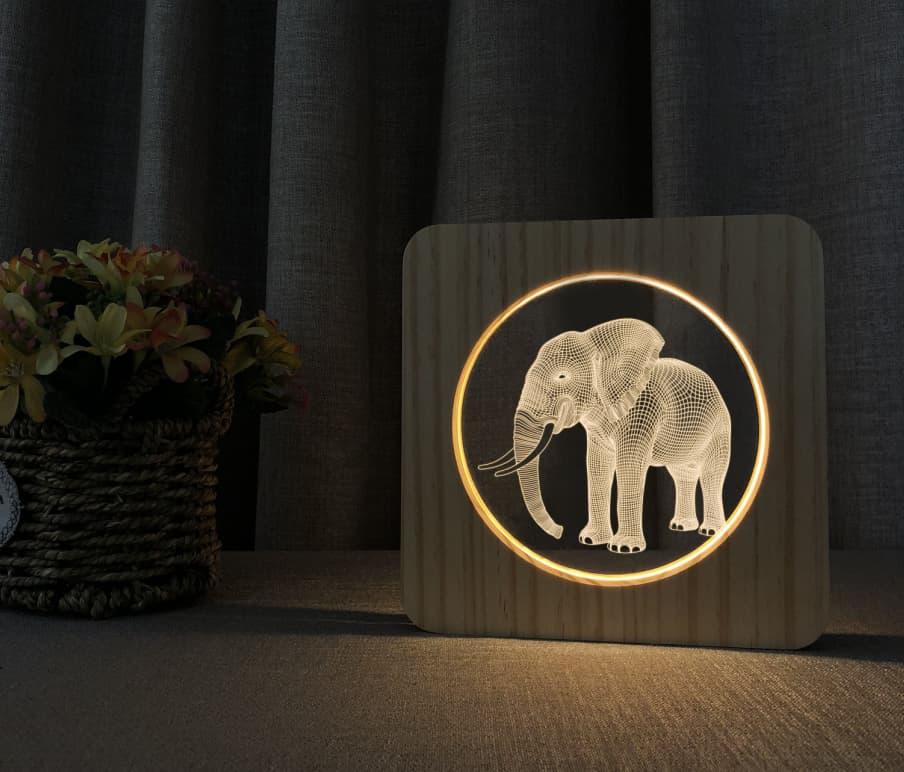 Elephant Wooden 3D Lamp 3