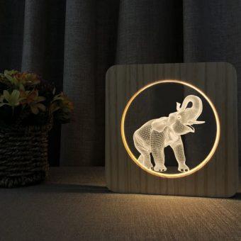 Elephant Wooden 3D Lamp 2