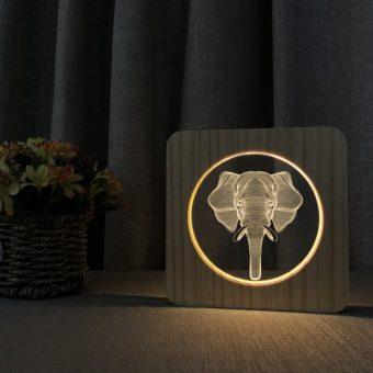 Elephant Wooden 3D Lamp