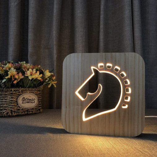 Horse Wooden 3D Lamp