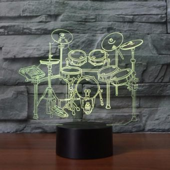 Drum Kit 3D Illusion Led Lamp