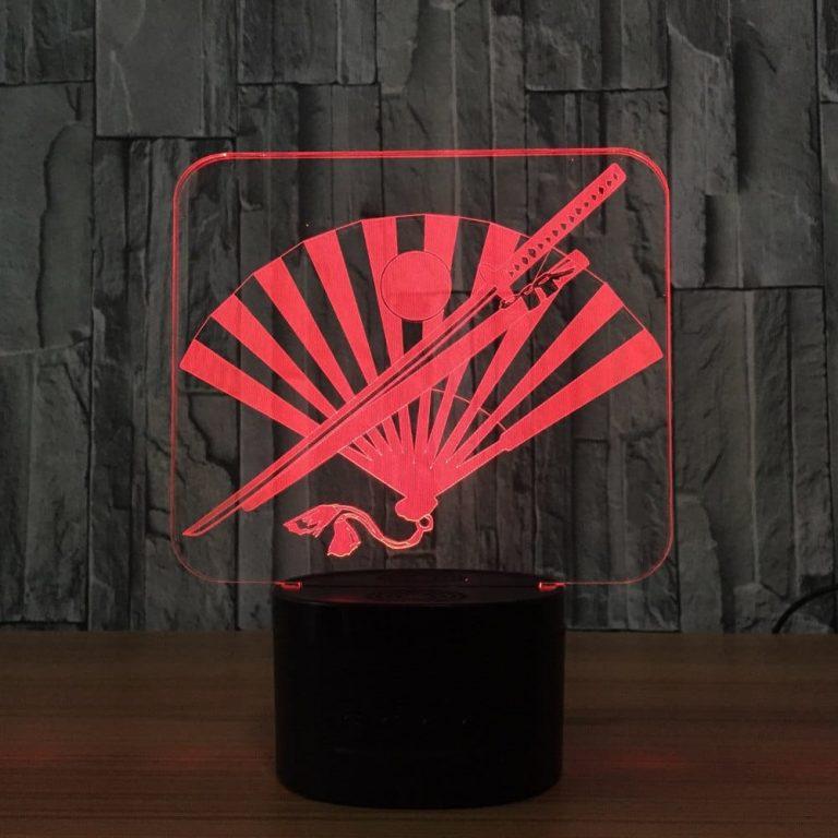 Samurai Swords & War fan 3D Illusion Led Lamp
