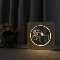 Bulldozer Wooden 3D Lamp