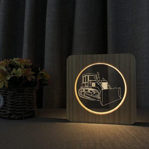 Bulldozer Wooden 3D Lamp