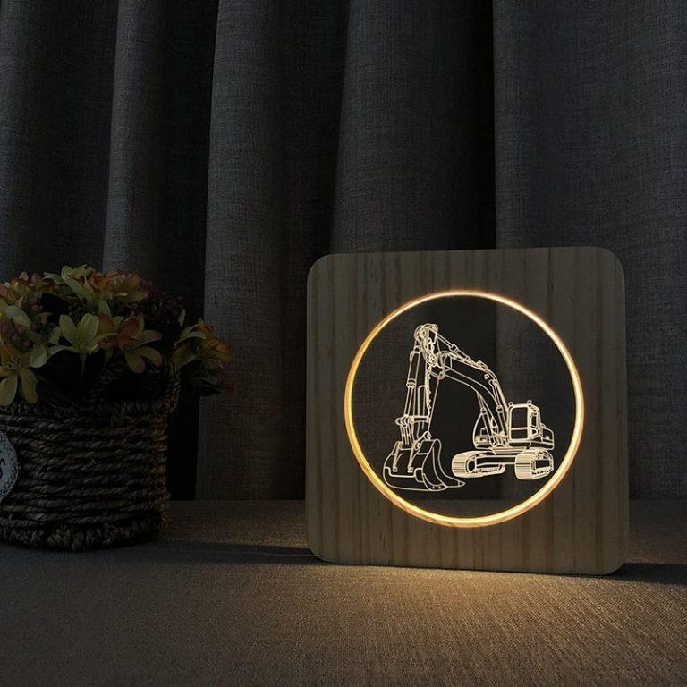 Excavator Wooden 3D Lamp