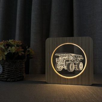 Haul Truck Wooden 3D Lamp