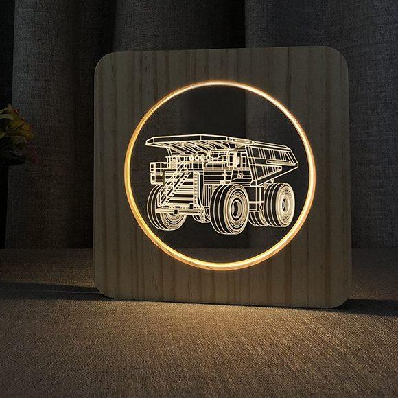 Haul Truck Wooden 3D Lamp