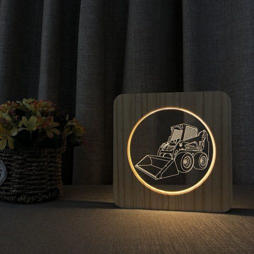 Skid steer Loader Wooden 3D Lamp