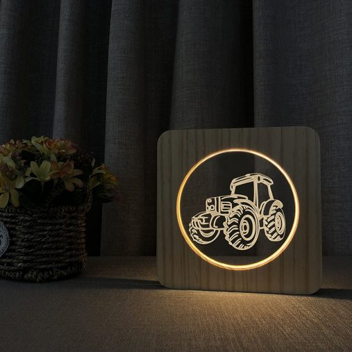 Tractor Wooden 3D Lamp