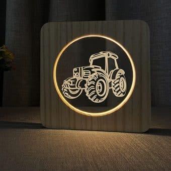 Traktor Holz 3D Lampe