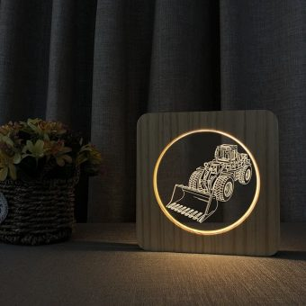 Wheel Loader Wooden 3D Lamp