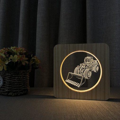 Wheel Loader Wooden 3D Lamp