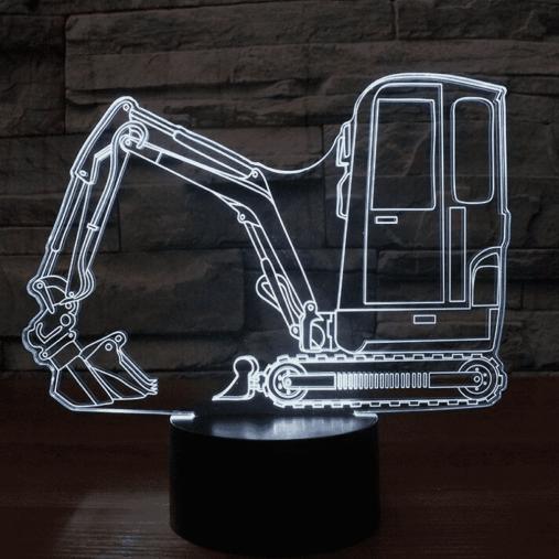 Mini Excavator 3D Illusion Led Lamp