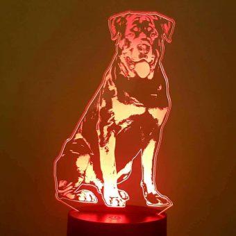 Lâmpada de ilusão Rottweiler 3D