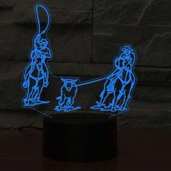 Team Roping 3D Illusion Led Lamp