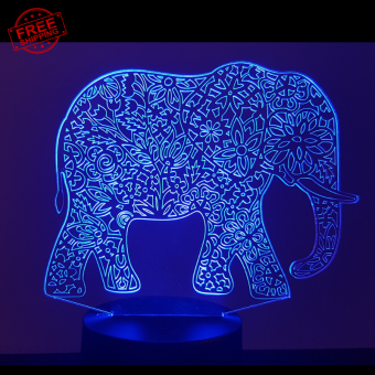 Elephant Mandala 3D Illusion Led Lamp