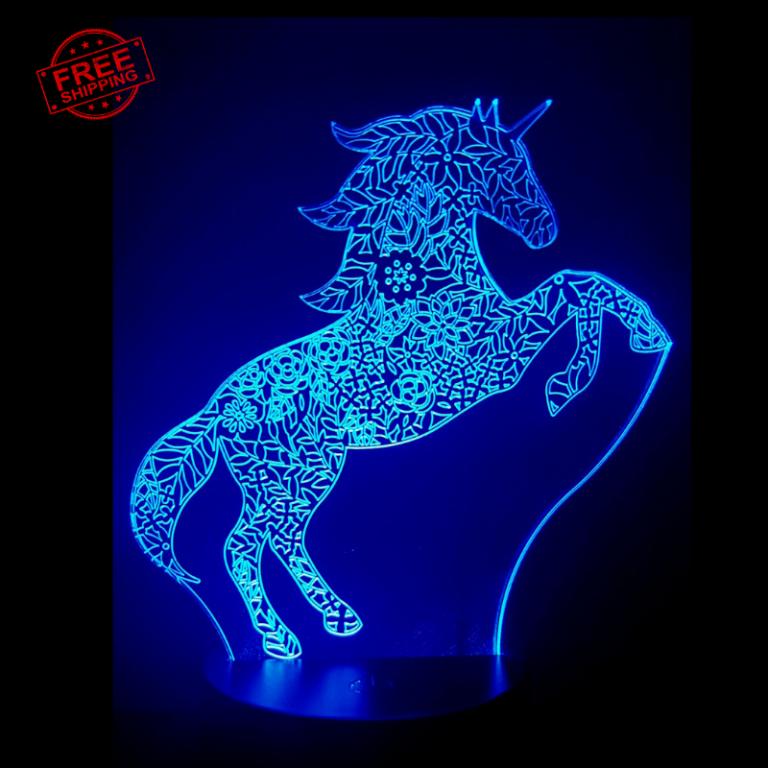 Unicorn Pattern 3D Illusion led lamp