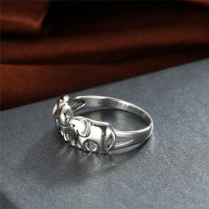 S925 Two Elephants Ring