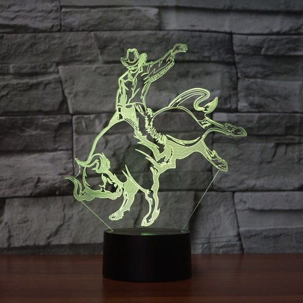 Bull Riding 3D Illusion Lamp