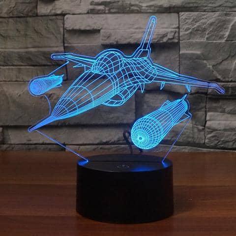 Military Aircraft 3D Illusion Lamp