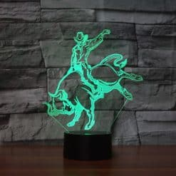 Bull Riding 3D Illusion Lamp