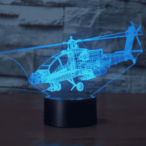 Apache AH-64 3D Illusion Lamp