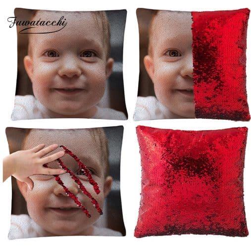 Custom Photo Sequin Pillow Case