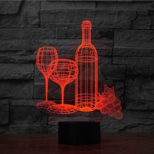 Wine and Glass 3D Illusion Led Lamp