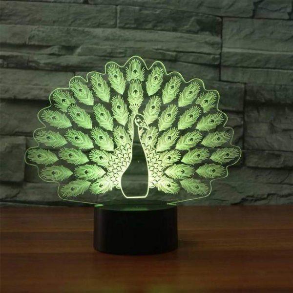Peacock 3D Illusion Led Lamp