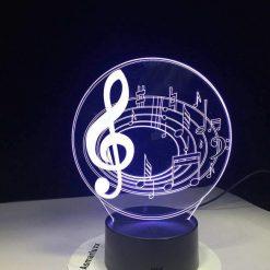 Music Notes 3D Illusion Led Lamp