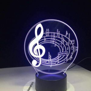 Music Notes 3D Illusion Led Lamp