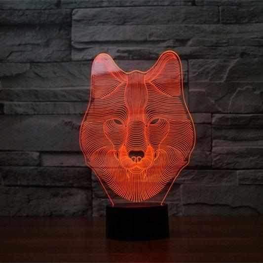 Wolf Head 3D Illusion Led Lamp