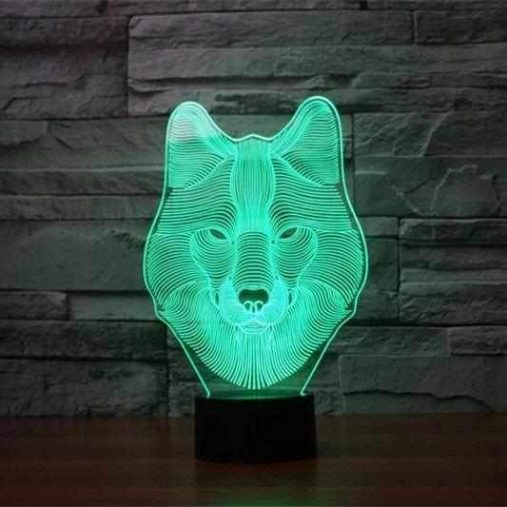 Wolf Head 3D Illusion Led Lamp