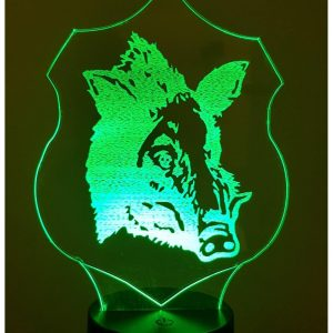 Wild Boar Trophy 3D Illusion Led Lamp