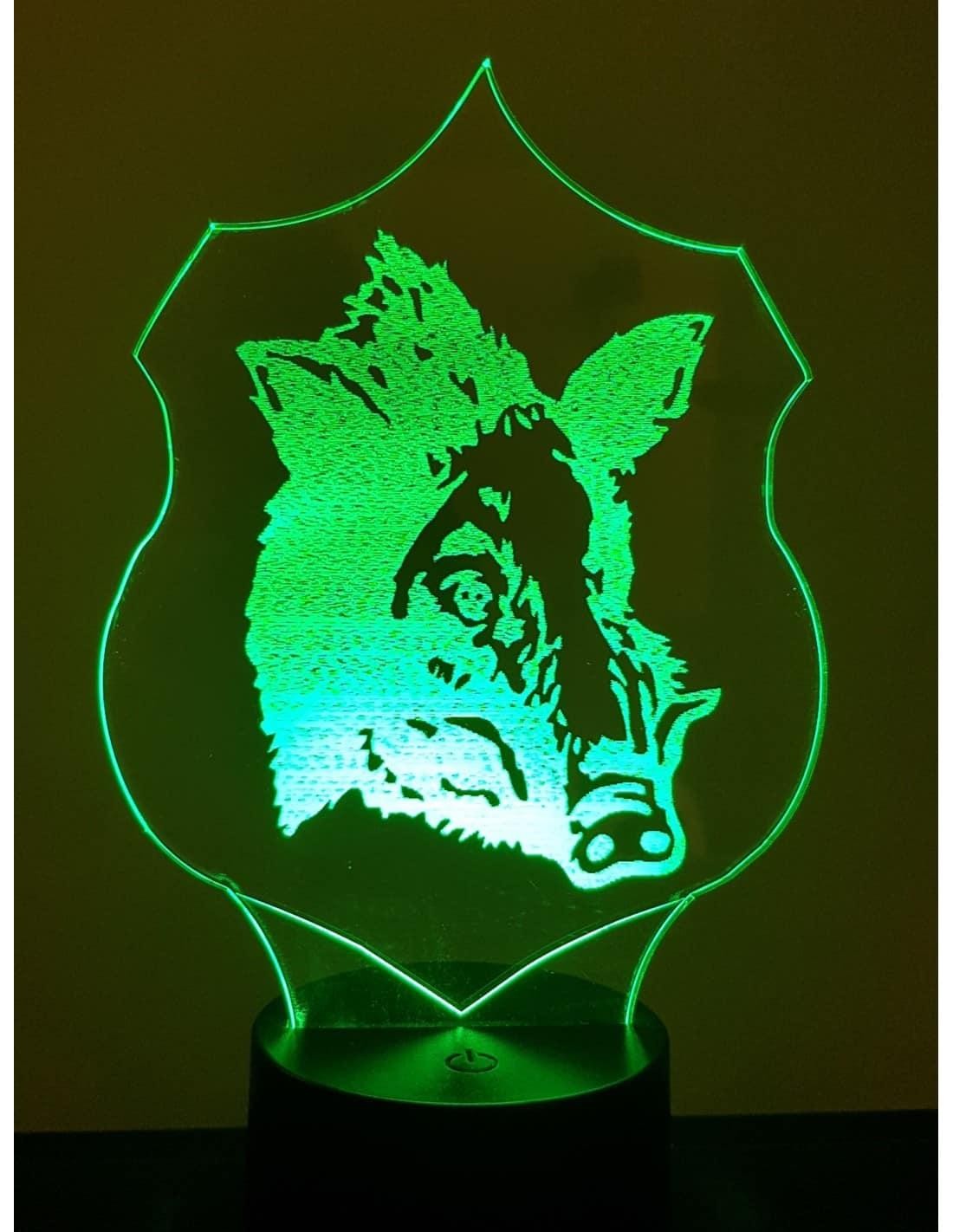 Wild Boar Trophy 3D Illusion Led Lamp
